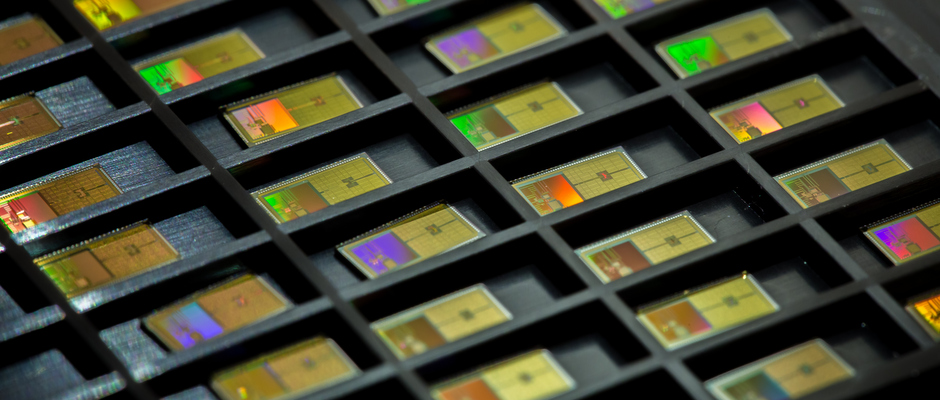 A tray of energy-efficient microchips